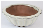 Bonsai Pot, Round, 12cm, Cream, Glazed